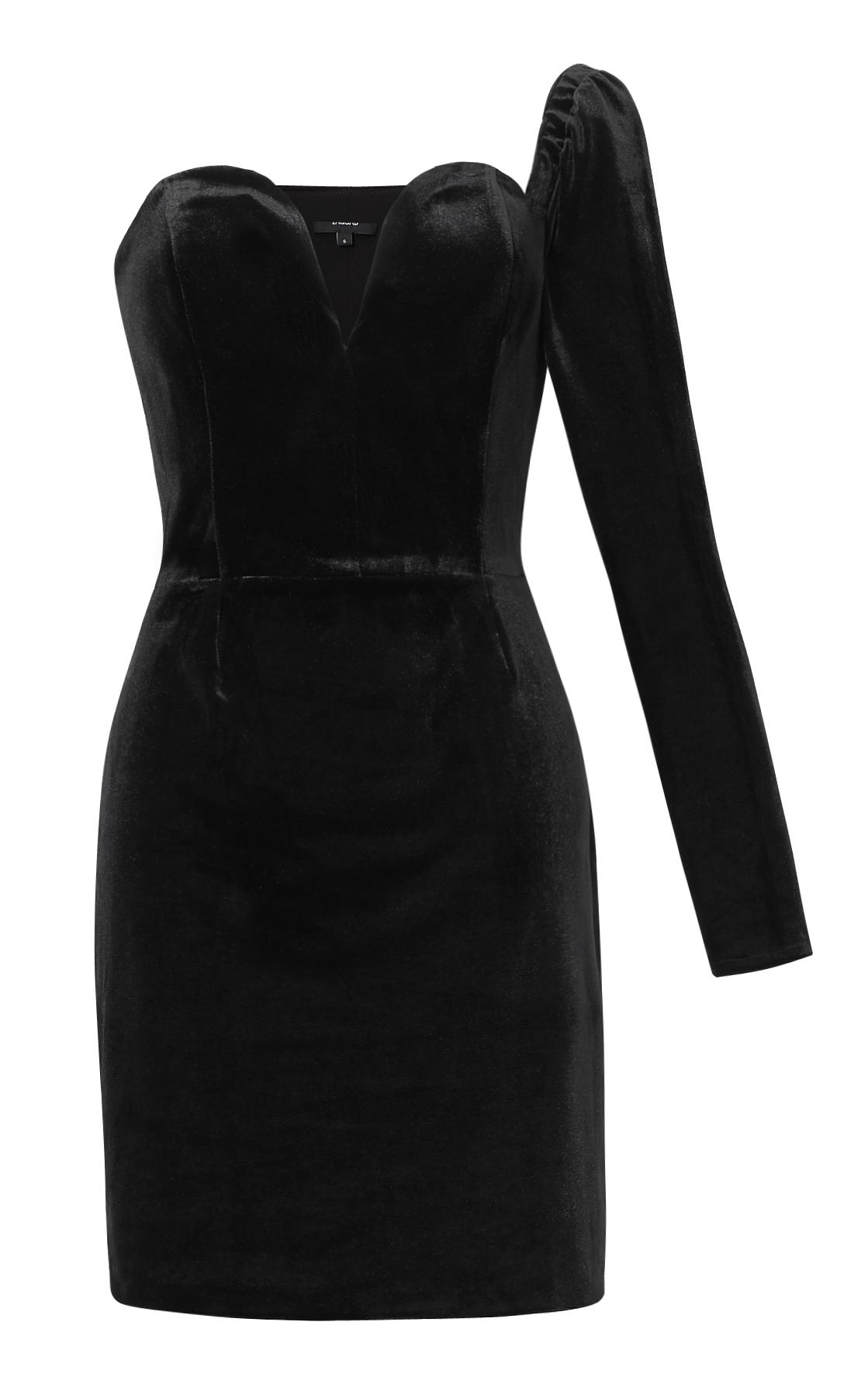 169ea4cfcc Welurowa sukienka na jedno ramię - Zaquad