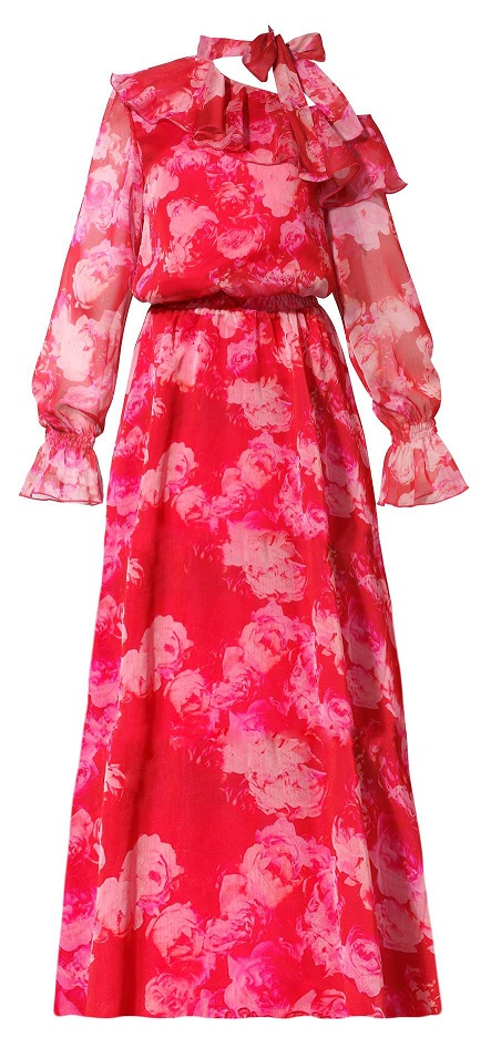 92946ba259 Sukienka szyfonowa maxi w kwiaty z wiązaniem na szyi - Zaquad