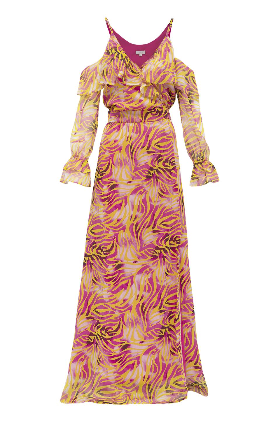 fc7dbc65f2 Szyfonowa sukienka zakładana z falbanami wzór zeberka - Zaquad