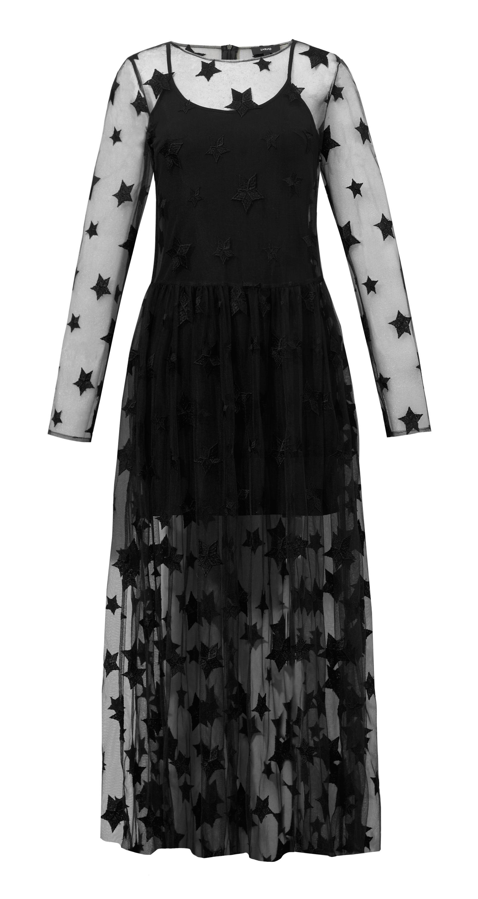 fc89e657 Sukienka szyfonowa w gwiazdki maxi czarna